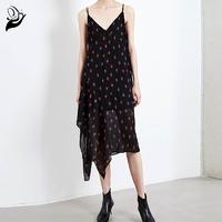 Black floral pattern Irregular beveled Sling dress